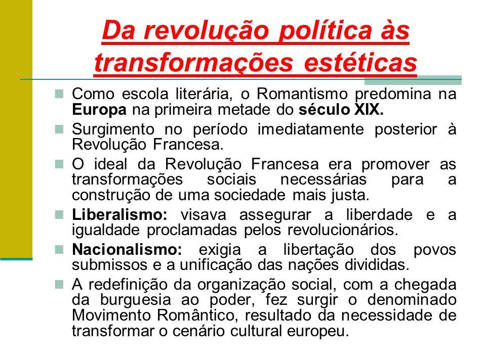 Da revolução política às transformações estéticas Como escola literária, o Romantismo predomina na Europa na primeira metade do século XIX.