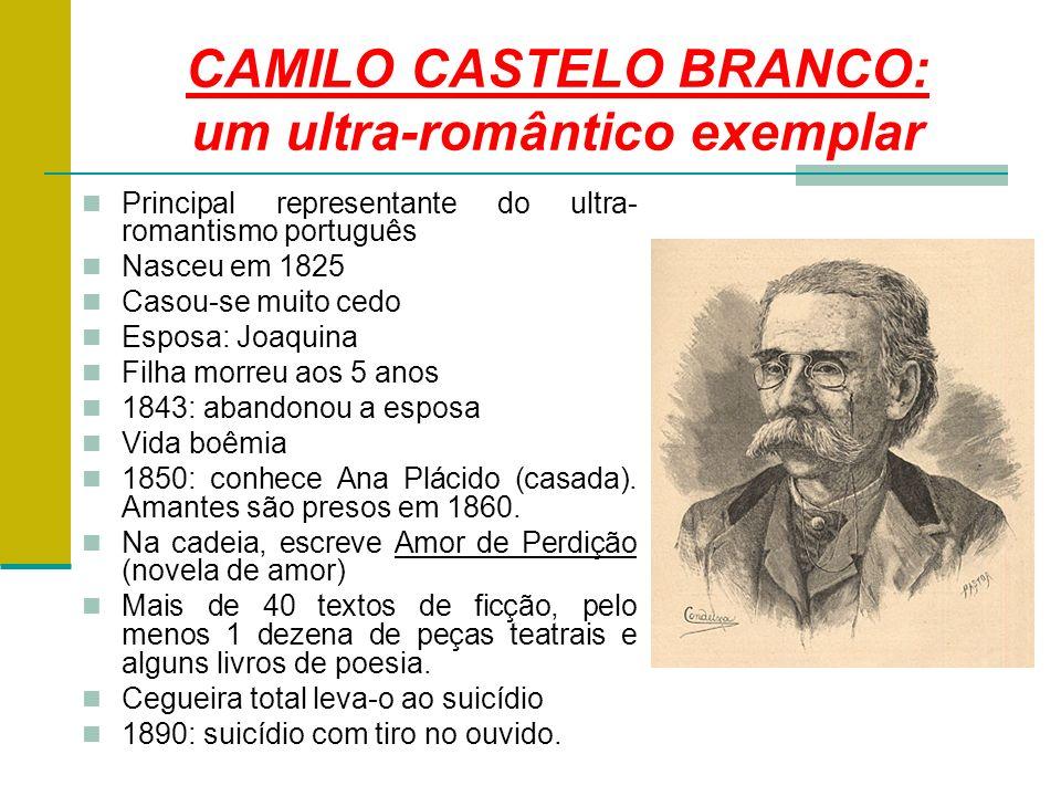 CAMILO CASTELO BRANCO: um ultra-romântico exemplar Principal representante do ultra- romantismo português Nasceu em 1825 Casou-se muito cedo Esposa: Joaquina Filha morreu aos 5 anos 1843: abandonou a esposa Vida boêmia 1850: conhece Ana Plácido (casada).