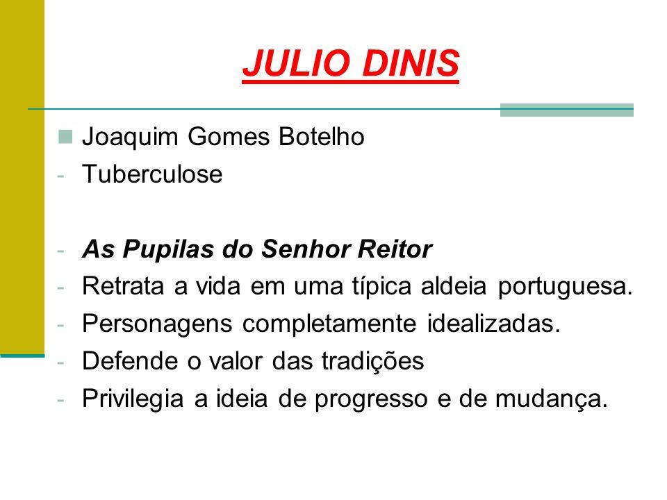 JULIO DINIS Joaquim Gomes Botelho - Tuberculose - As Pupilas do Senhor Reitor - Retrata a vida em uma típica aldeia portuguesa.