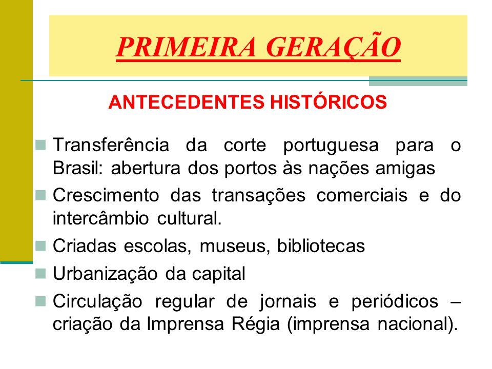 ANTECEDENTES HISTÓRICOS Transferência da corte portuguesa para o Brasil: abertura dos portos às nações amigas Crescimento das transações comerciais e do intercâmbio cultural.