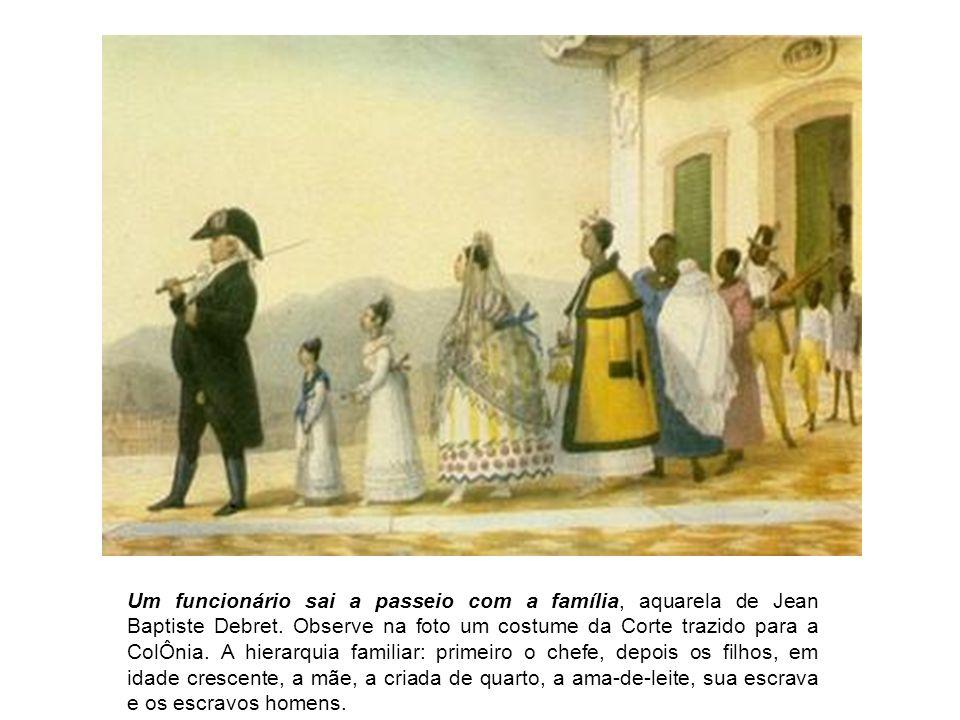 Um funcionário sai a passeio com a família, aquarela de Jean Baptiste Debret.