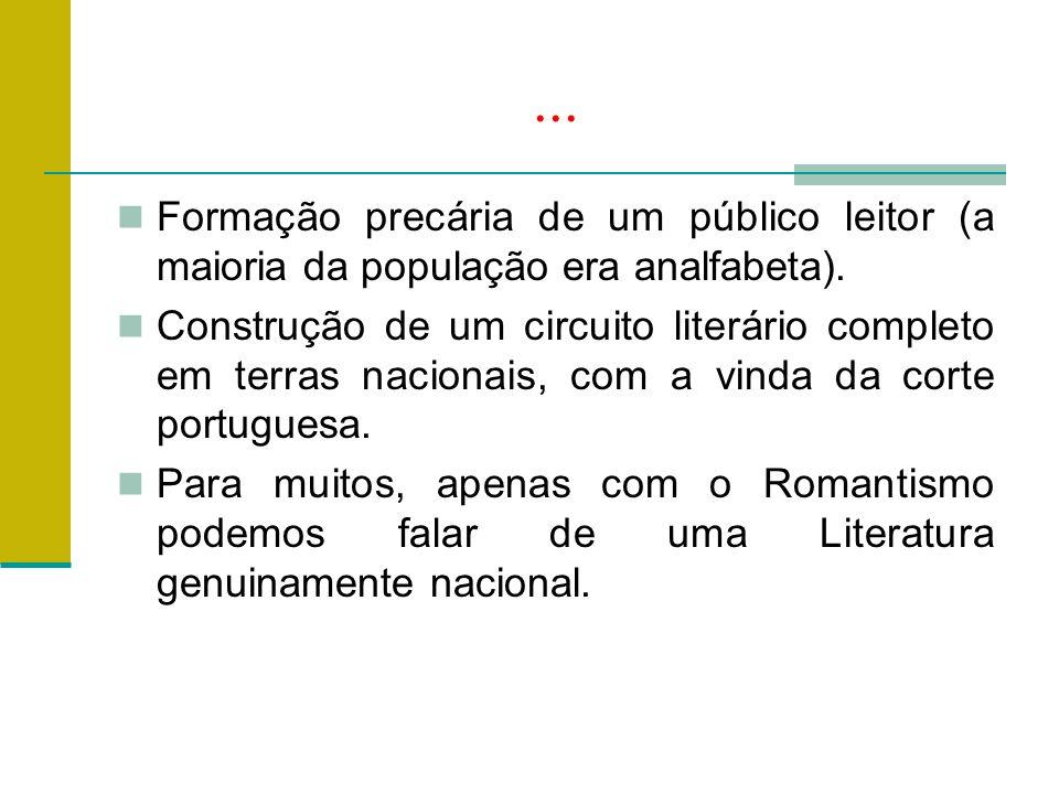 ...Formação precária de um público leitor (a maioria da população era analfabeta).