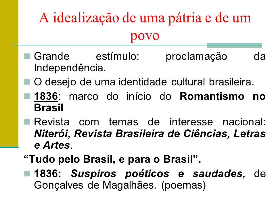 A idealização de uma pátria e de um povo Grande estímulo: proclamação da Independência.