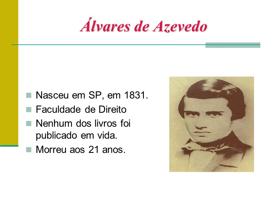 Álvares de Azevedo Nasceu em SP, em 1831.