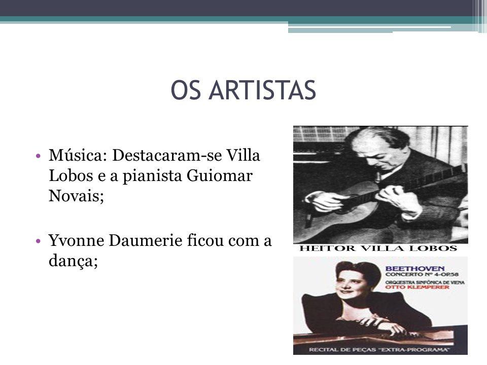 OS ARTISTAS Música: Destacaram-se Villa Lobos e a pianista Guiomar Novais; Yvonne Daumerie ficou com a dança;