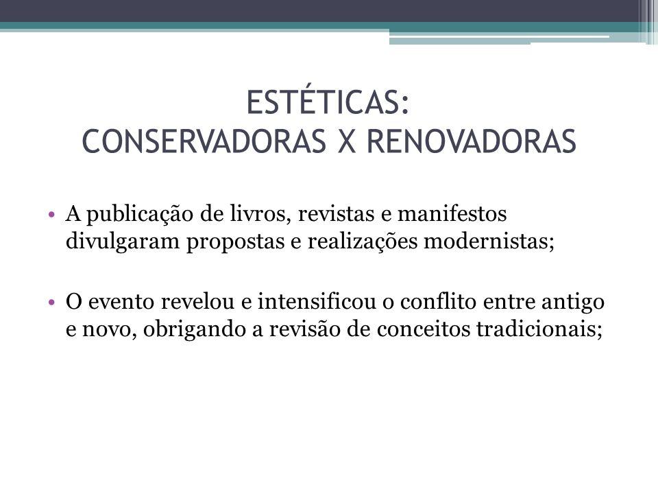ESTÉTICAS: CONSERVADORAS X RENOVADORAS A publicação de livros, revistas e manifestos divulgaram propostas e realizações modernistas; O evento revelou