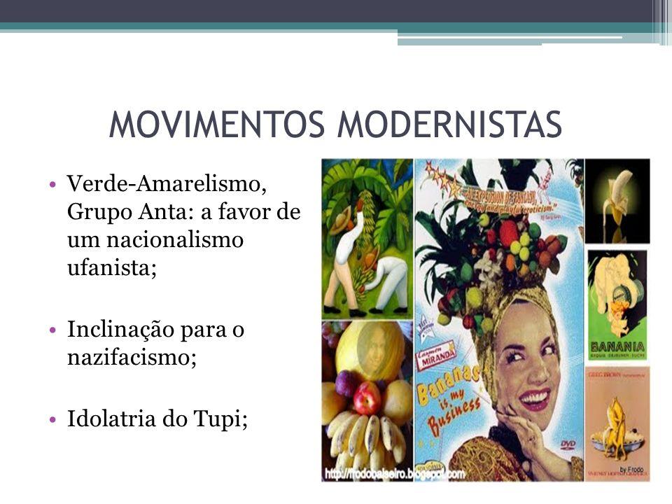 MOVIMENTOS MODERNISTAS Verde-Amarelismo, Grupo Anta: a favor de um nacionalismo ufanista; Inclinação para o nazifacismo; Idolatria do Tupi;