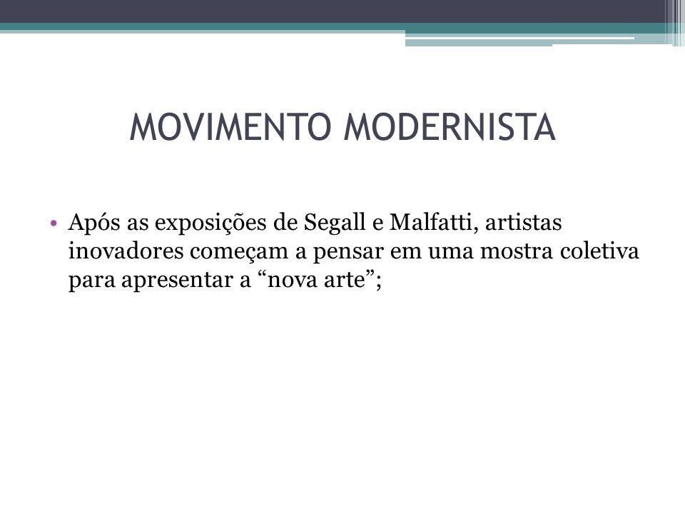 OBEJTIVO DA SEMANA Quebra de paradigmas; Criação de uma arte culturalmente brasileira, fundida com as influências internacionais e que chocasse a burguesia; Atualizar culturalmente o Brasil para atingir a sua independência no plano das artes;