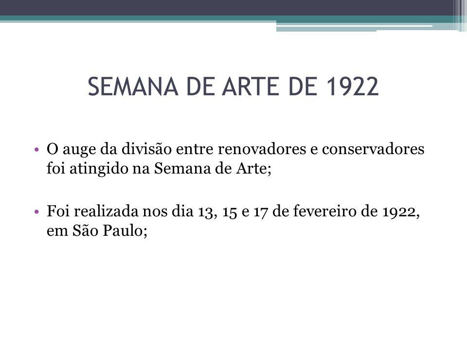 SEMANA DE ARTE DE 1922 Cada dia de evento foi dedicado a um tipo de arte: 13 de fevereiro: Pintura e Escultura; 15 de fevereiro: Poesia e Literatura; 17 de fevereiro: Música;