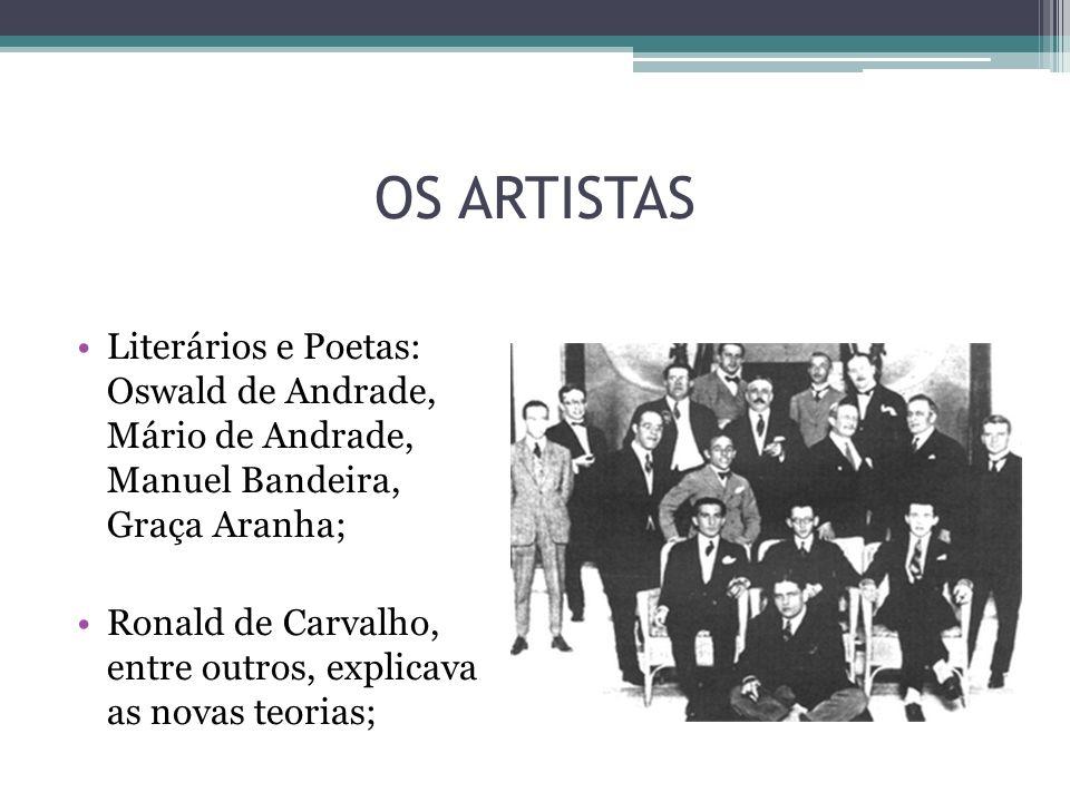 OS ARTISTAS Literários e Poetas: Oswald de Andrade, Mário de Andrade, Manuel Bandeira, Graça Aranha; Ronald de Carvalho, entre outros, explicava as no