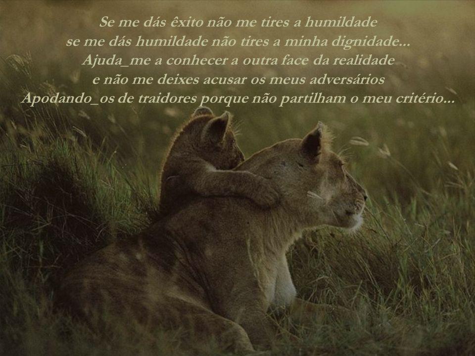 Se me dás êxito não me tires a humildade se me dás humildade não tires a minha dignidade...