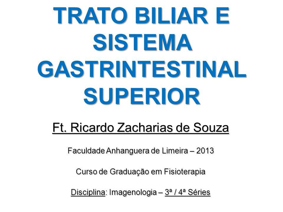 TRATO BILIAR E SISTEMA GASTRINTESTINAL SUPERIOR Ft. Ricardo Zacharias de Souza Faculdade Anhanguera de Limeira – 2013 Curso de Graduação em Fisioterap
