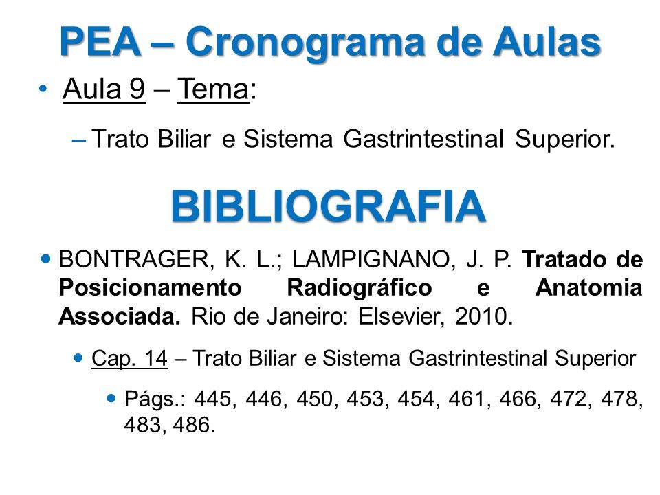 PEA – Cronograma de Aulas Aula 9 – Tema: –Trato Biliar e Sistema Gastrintestinal Superior. BIBLIOGRAFIA BONTRAGER, K. L.; LAMPIGNANO, J. P. Tratado de
