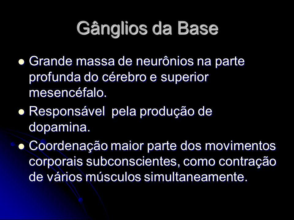 Gânglios da Base Grande massa de neurônios na parte profunda do cérebro e superior mesencéfalo. Grande massa de neurônios na parte profunda do cérebro