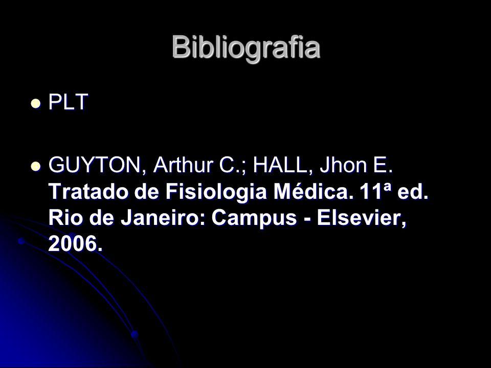 Bibliografia PLT PLT GUYTON, Arthur C.; HALL, Jhon E. Tratado de Fisiologia Médica. 11ª ed. Rio de Janeiro: Campus - Elsevier, 2006. GUYTON, Arthur C.