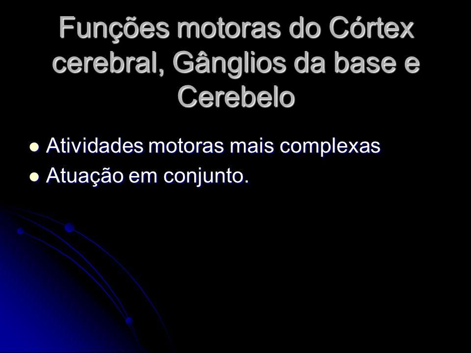 Funções motoras do Córtex cerebral, Gânglios da base e Cerebelo Atividades motoras mais complexas Atividades motoras mais complexas Atuação em conjunt