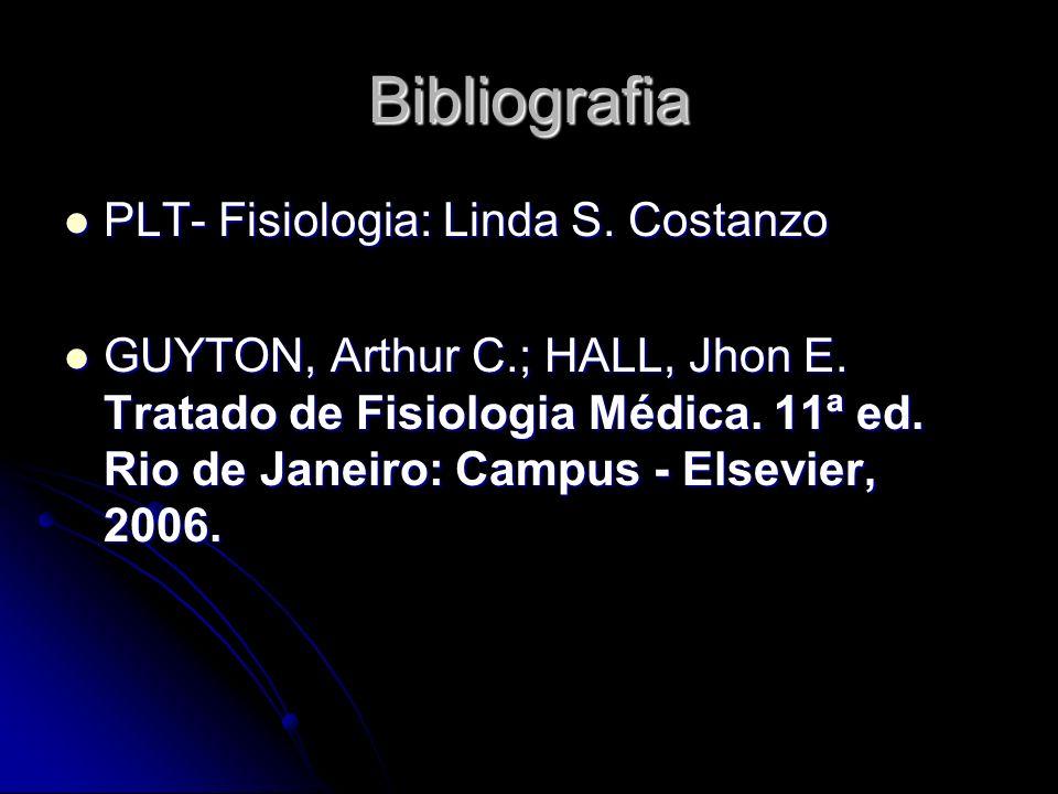 Bibliografia PLT- Fisiologia: Linda S. Costanzo PLT- Fisiologia: Linda S. Costanzo GUYTON, Arthur C.; HALL, Jhon E. Tratado de Fisiologia Médica. 11ª