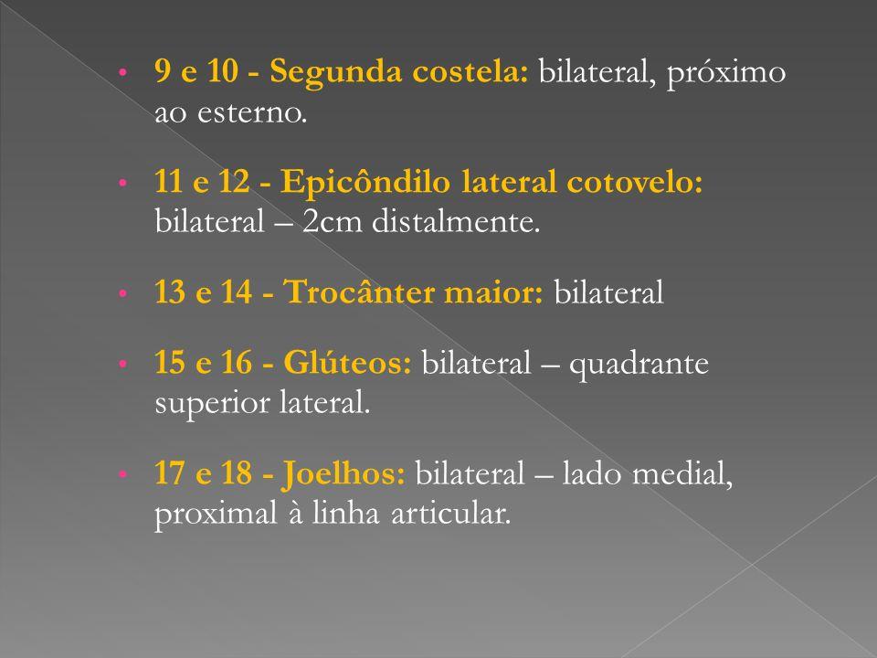 9 e 10 - Segunda costela: bilateral, próximo ao esterno. 11 e 12 - Epicôndilo lateral cotovelo: bilateral – 2cm distalmente. 13 e 14 - Trocânter maior