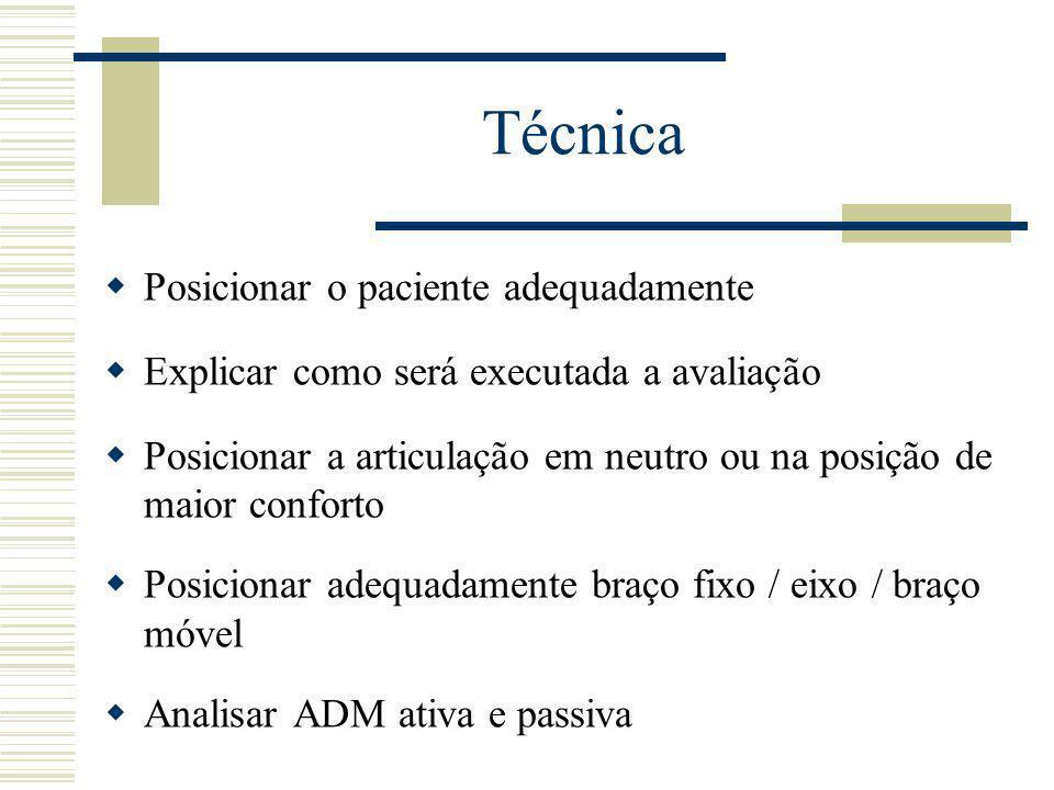 Técnica Posicionar o paciente adequadamente Explicar como será executada a avaliação Posicionar a articulação em neutro ou na posição de maior confort
