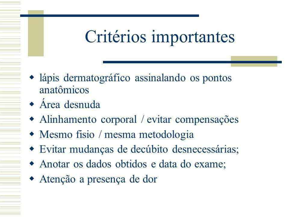 Critérios importantes lápis dermatográfico assinalando os pontos anatômicos Área desnuda Alinhamento corporal / evitar compensações Mesmo fisio / mesm
