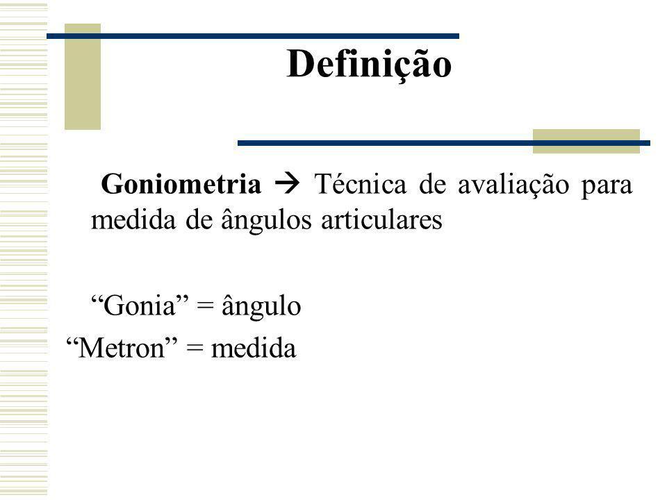 Definição Goniometria Técnica de avaliação para medida de ângulos articulares Gonia = ângulo Metron = medida