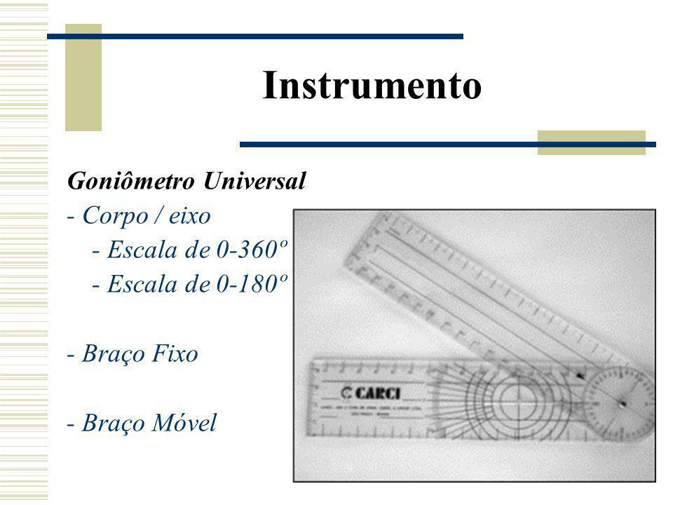 Instrumento Goniômetro Universal - Corpo / eixo - Escala de 0-360º - Escala de 0-180º - Braço Fixo - Braço Móvel