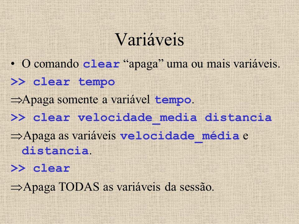 Variáveis O comando clear apaga uma ou mais variáveis. >> clear tempo Apaga somente a variável tempo. >> clear velocidade_media distancia Apaga as var