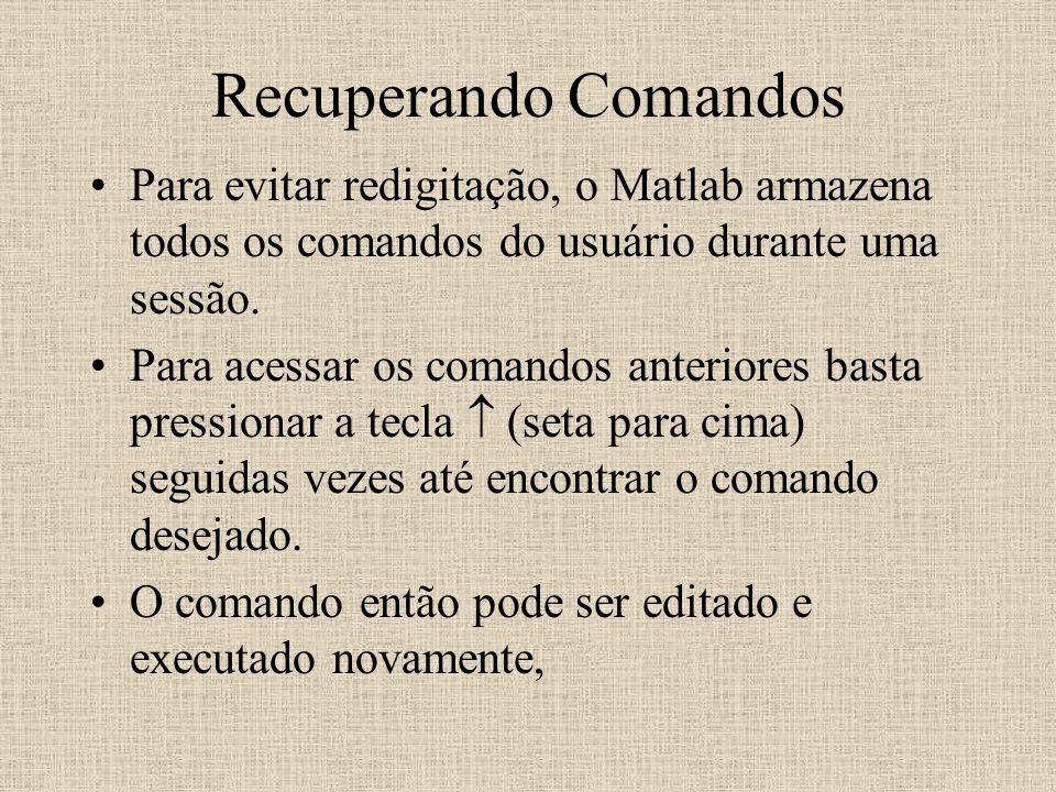 Recuperando Comandos Para evitar redigitação, o Matlab armazena todos os comandos do usuário durante uma sessão. Para acessar os comandos anteriores b