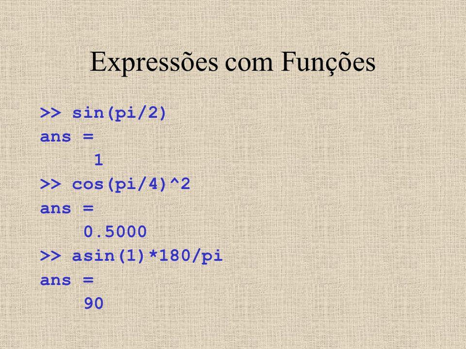 Expressões com Funções >> sin(pi/2) ans = 1 >> cos(pi/4)^2 ans = 0.5000 >> asin(1)*180/pi ans = 90