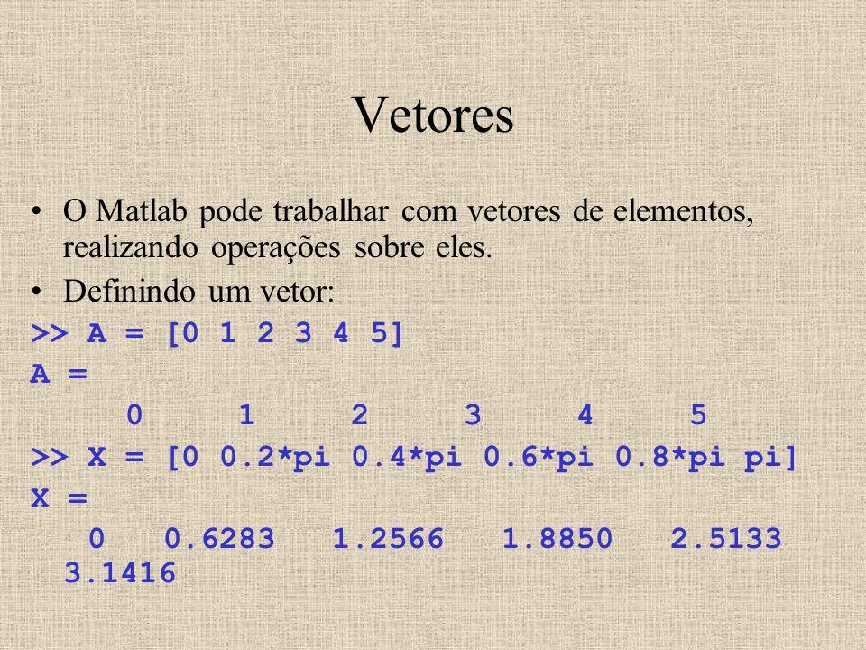 Vetores O Matlab pode trabalhar com vetores de elementos, realizando operações sobre eles. Definindo um vetor: >> A = [0 1 2 3 4 5] A = 0 1 2 3 4 5 >>