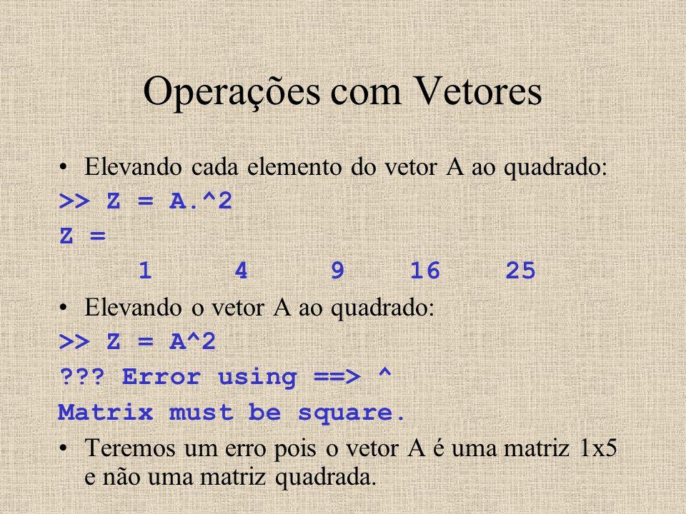 Operações com Vetores Elevando cada elemento do vetor A ao quadrado: >> Z = A.^2 Z = 1 4 9 16 25 Elevando o vetor A ao quadrado: >> Z = A^2 ??? Error