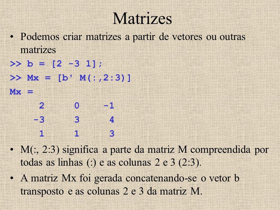 Matrizes Podemos criar matrizes a partir de vetores ou outras matrizes >> b = [2 -3 1]; >> Mx = [b' M(:,2:3)] Mx = 2 0 -1 -3 3 4 1 1 3 M(:, 2:3) signi