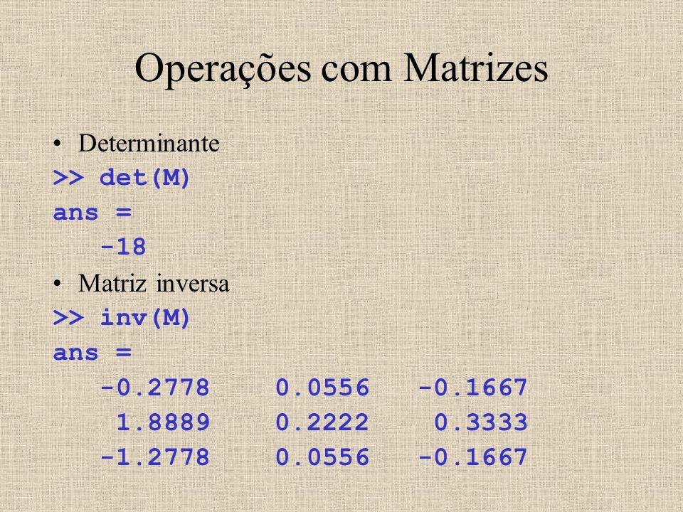 Operações com Matrizes Determinante >> det(M) ans = -18 Matriz inversa >> inv(M) ans = -0.2778 0.0556 -0.1667 1.8889 0.2222 0.3333 -1.2778 0.0556 -0.1