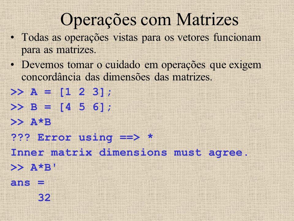 Operações com Matrizes Todas as operações vistas para os vetores funcionam para as matrizes. Devemos tomar o cuidado em operações que exigem concordân
