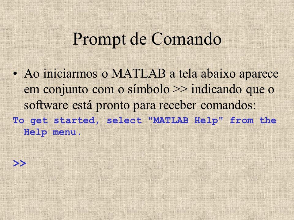 Prompt de Comando Ao iniciarmos o MATLAB a tela abaixo aparece em conjunto com o símbolo >> indicando que o software está pronto para receber comandos