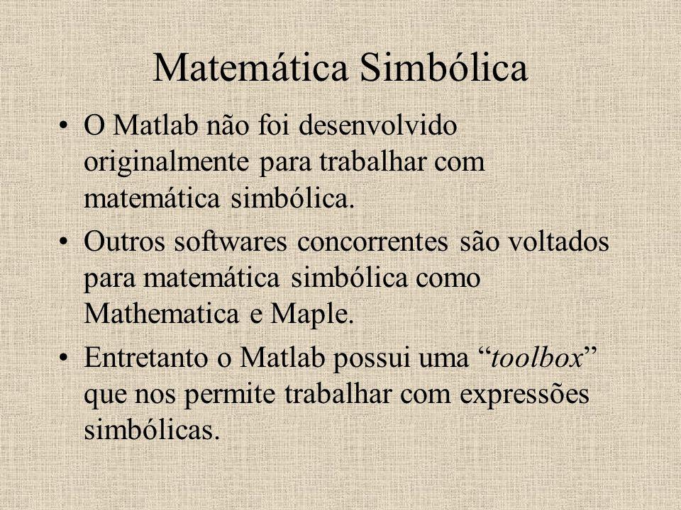 Matemática Simbólica O Matlab não foi desenvolvido originalmente para trabalhar com matemática simbólica. Outros softwares concorrentes são voltados p