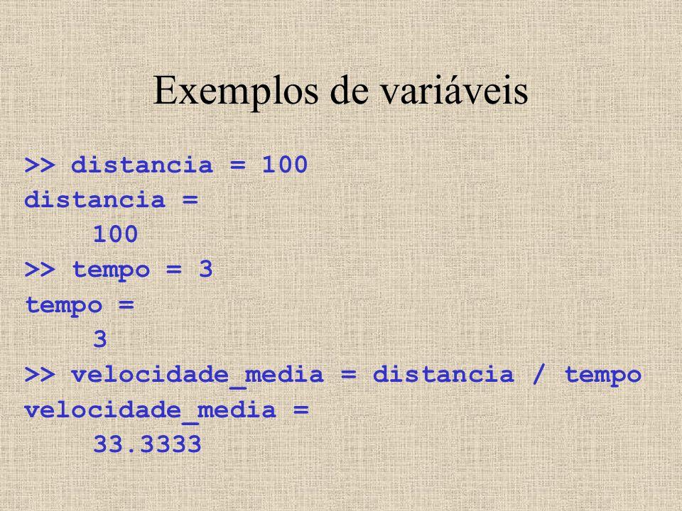 Exemplos de variáveis >> distancia = 100 distancia = 100 >> tempo = 3 tempo = 3 >> velocidade_media = distancia / tempo velocidade_media = 33.3333