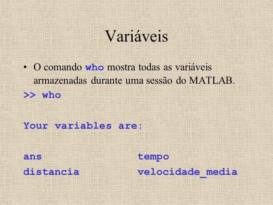 Variáveis O comando who mostra todas as variáveis armazenadas durante uma sessão do MATLAB. >> who Your variables are: ans tempo distancia velocidade_
