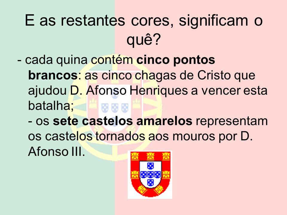 E as restantes cores, significam o quê? o branco representa a paz; o Escudo lembra a defesa do território; as Quinas, a azul, representam as primeiras