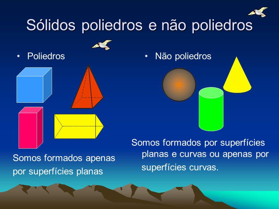 Sólidos poliedros e não poliedros Poliedros Não poliedros Somos formados apenas por superfícies planas Somos formados por superfícies planas e curvas