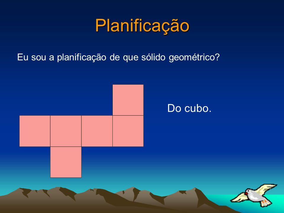 Planificação Eu sou a planificação de que sólido geométrico? Do cubo.