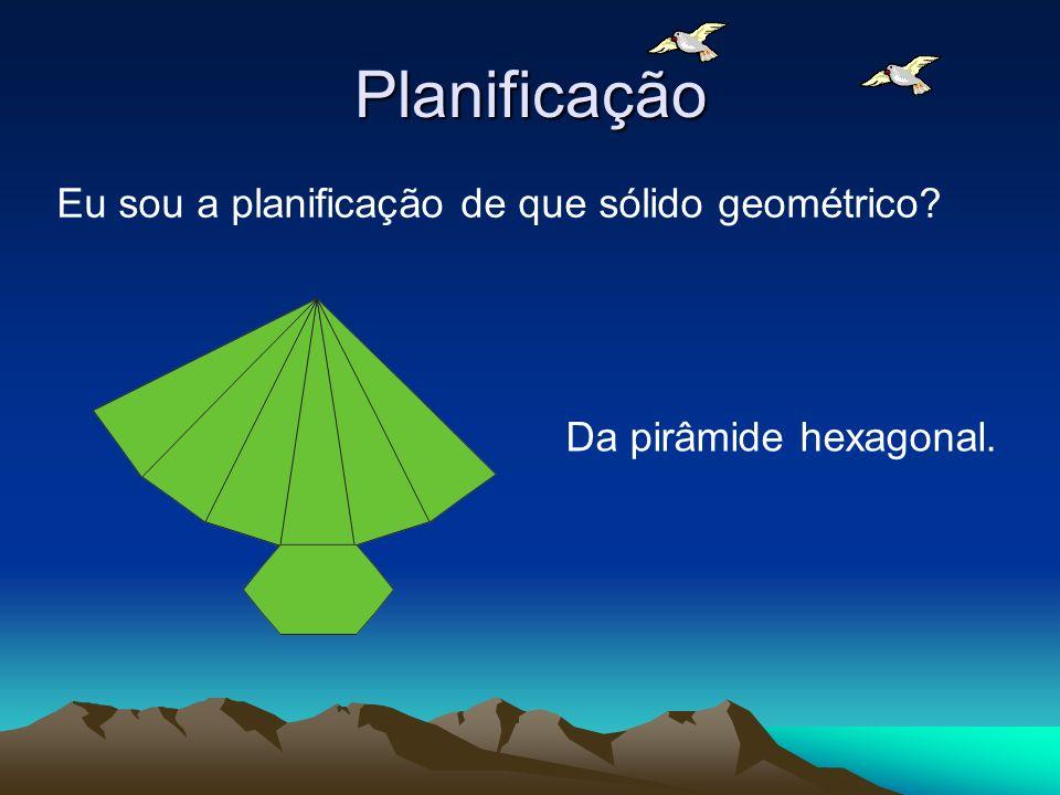 Planificação Eu sou a planificação de que sólido geométrico? Da pirâmide hexagonal.