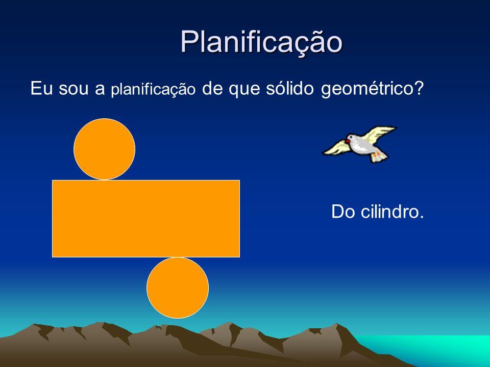 Planificação Eu sou a planificação de que sólido geométrico? Do cilindro.