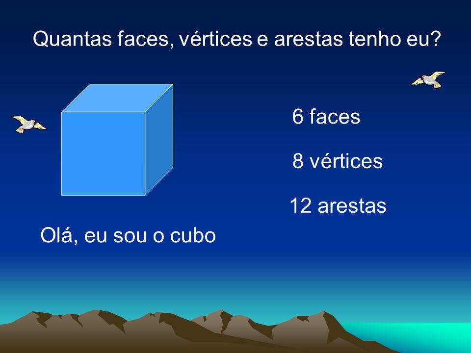 12 arestas 6 faces 8 vértices Olá, eu sou o cubo Quantas faces, vértices e arestas tenho eu?