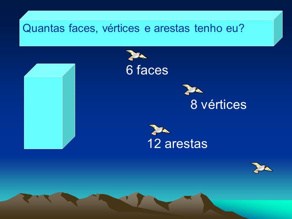 Quantas faces, vértices e arestas tenho eu? 6 faces 12 arestas 8 vértices
