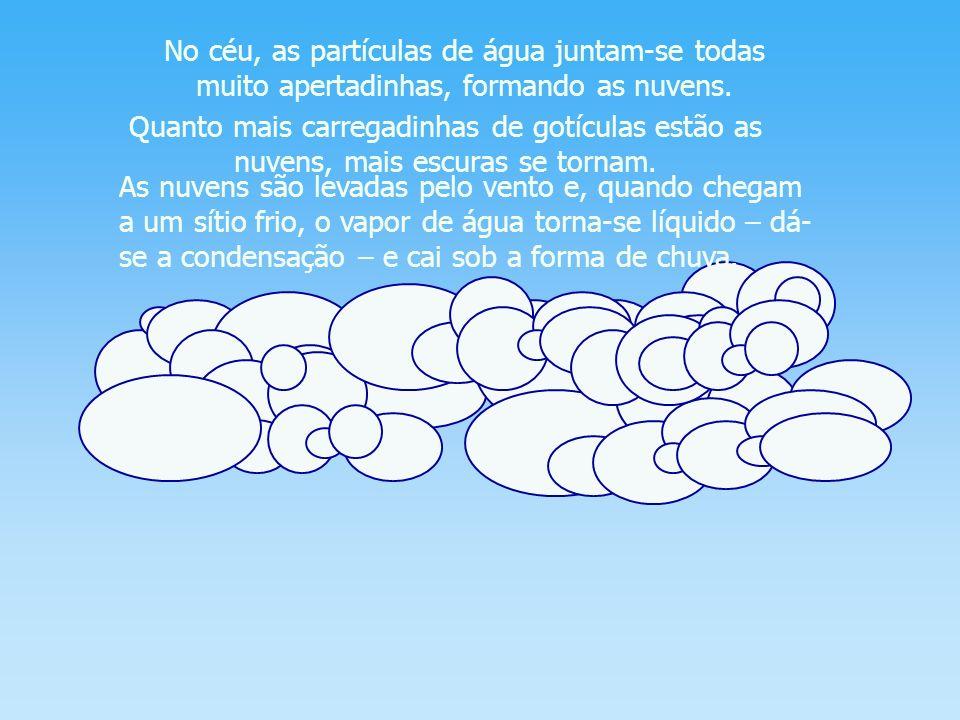 No céu, as partículas de água juntam-se todas muito apertadinhas, formando as nuvens.