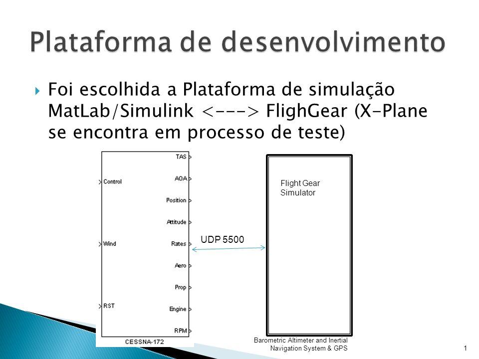 Foi escolhida a Plataforma de simulação MatLab/Simulink FlighGear (X-Plane se encontra em processo de teste) Barometric Altimeter and Inertial Navigat