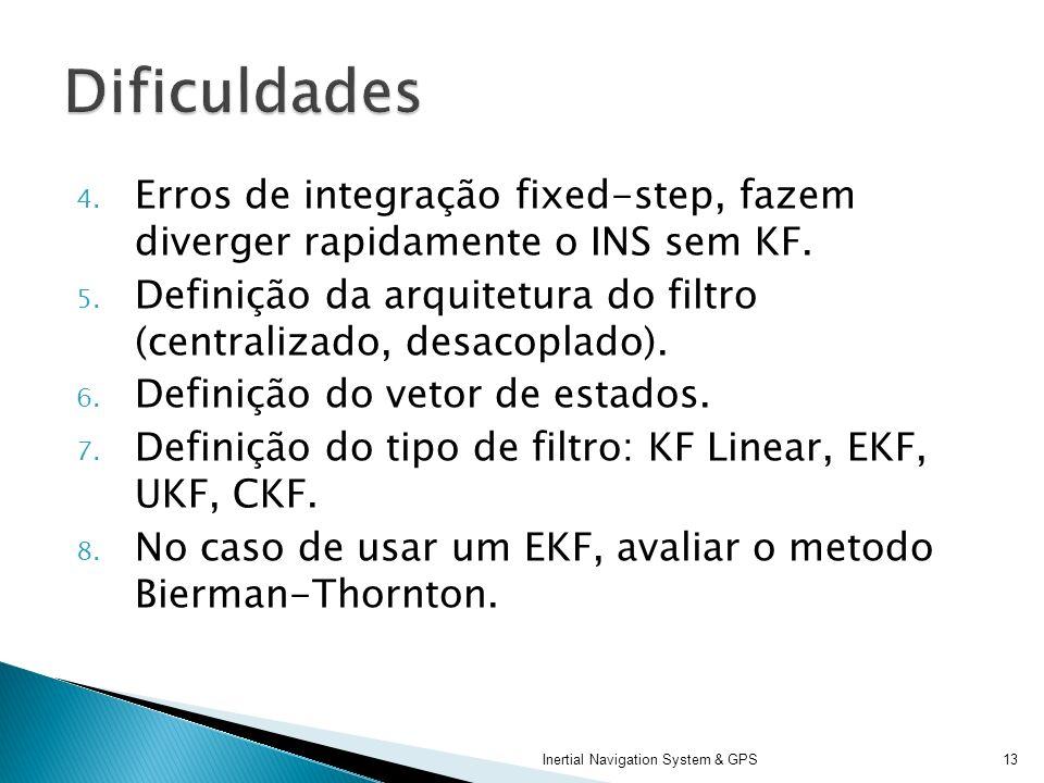 4. Erros de integração fixed-step, fazem diverger rapidamente o INS sem KF. 5. Definição da arquitetura do filtro (centralizado, desacoplado). 6. Defi