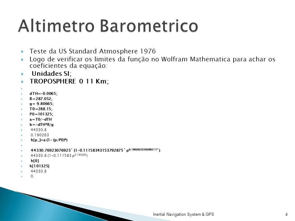 Teste da US Standard Atmosphere 1976 Logo de verificar os limites da função no Wolfram Mathematica para achar os coeficientes da equação: Unidades SI;
