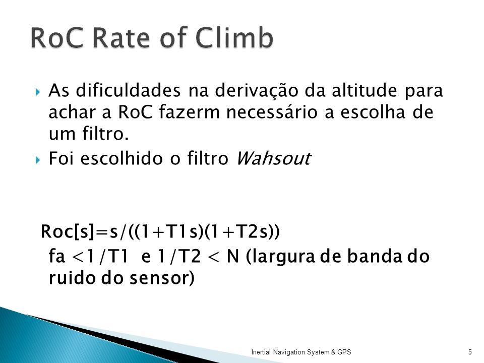 As dificuldades na derivação da altitude para achar a RoC fazerm necessário a escolha de um filtro. Foi escolhido o filtro Wahsout Roc[s]=s/((1+T1s)(1